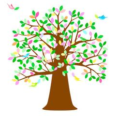 大きな木 カラフル葉っぱを運ぶ鳥