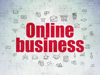Finance concept: Painted red text Online Business on Digital Data Paper background with  Hand Drawn Business Icons