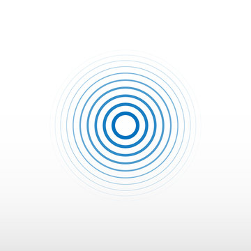 Blue radio station signal. Sound wave background. Circle spin vector background.