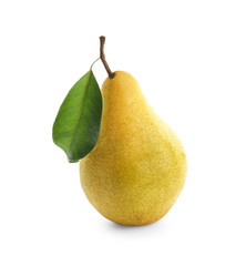 Delicious ripe pear on white background