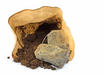 Kaffeesatz und Teebeutel, Bioabfall