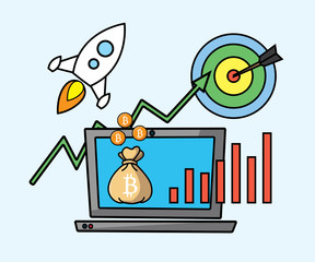 business strategy with bitcoin cartoon design