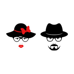 Retro couple with glasses anh hats. Woman and man faces. Wedding concept. Vector