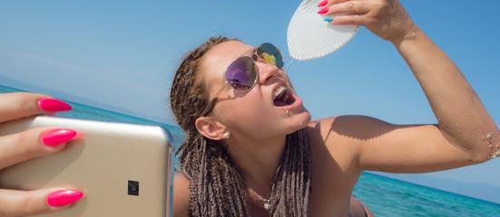Selfie Beach Woman Drinking Shell