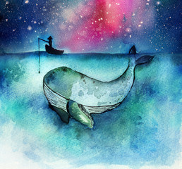 Watercolor hand drawn illustration of fisherman with a big whale fish in the deep ocean blue ,  idea for business concept for success or finding the big target in the market