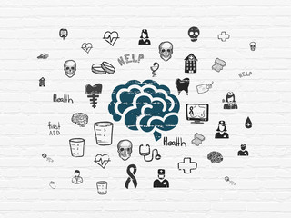 Healthcare concept: Painted blue Brain icon on White Brick wall background with  Hand Drawn Medicine Icons