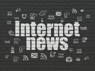 News concept: Painted white text Internet News on Black Brick wall background with  Hand Drawn News Icons