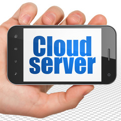 Cloud computing concept: Hand Holding Smartphone with blue text Cloud Server on display, 3D rendering