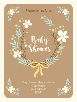 Cute vintage Baby Shower invitation card with hand drawn flowers