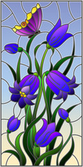 Illustration in stained glass style with leaves and bells flowers, purple flowers and butterfly on sky background