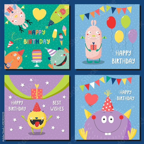 Set Of Hand Drawn Square Birthday Cards Templates With Cute Funny Cartoon Monsters In Party Hats Typography Vector Illustration Isolated Objects