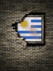Old Uruguay flag in brick wall