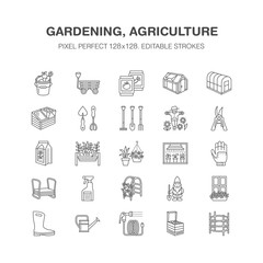 Gardening, planting horticulture line icons. Garden equipment, organic seeds, fertilizer, greenhouse, pruners, watering can. Agriculture vegetables flower cultivation signs Pixel perfect 128x128.