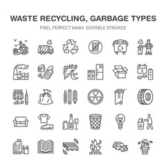 Recycling flat line icons. Pollution, recycle plant. Garbage sorting types - paper, glass, plastic, metal, flammable trash. Thin linear signs for waste management. Pixel perfect 64x64.