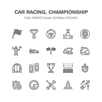 Car racing vector flat line icons. Speed auto championship signs - track, automobile, racer, helmet, checkered flags, steering wheel, start. Pixel perfect 64x64.
