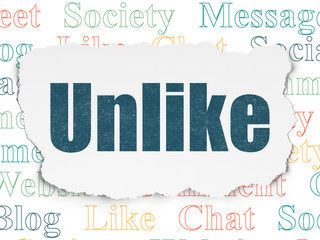 Social network concept: Painted blue text Unlike on Torn Paper background with  Tag Cloud