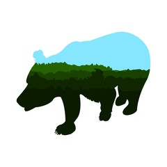 Silhouette of brown bear. Double exposure. Green and blue shades. Vector