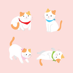 Cartoon cute actions orange and white cat vector. Pink background.