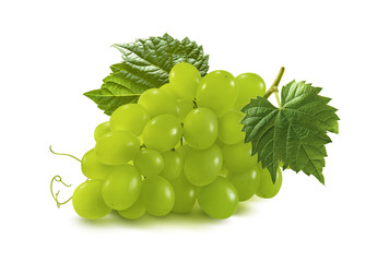 Bunch of green grapes isolated on white background