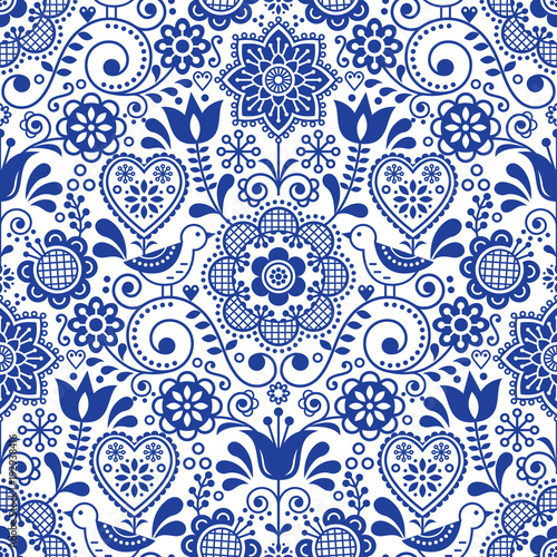 Seamless Folk Art Vector Pattern With Birds And Flowers