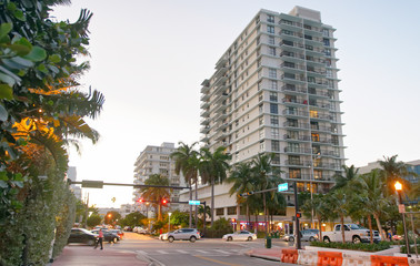 MIAMI - FEBRUARY 25, 2016: Miami beach skyline on a beautiful winder evening. Miami Beach is a famous tourist attraction