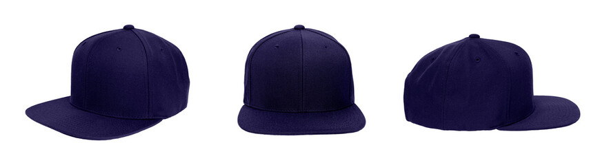 Blank baseball snap back cap color navy on white background
