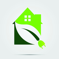 Green Eco House or Logo power plug nature green. vector illustrations