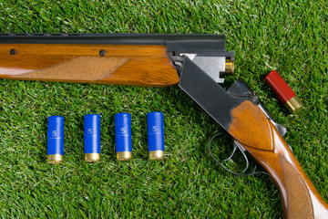 on a green lawn, a gun to charge a lot of bullets, the background