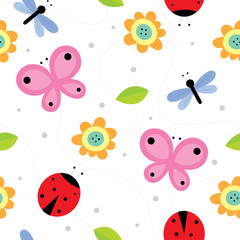 pink butterfly and blue dragonfly and red ladybug in the garden seamless pattern vector.