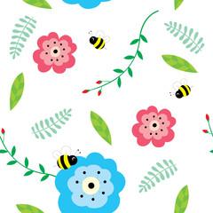 Little bee flying in the flowers garden seamless pattern vector.