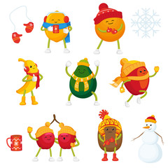 Vector cartoon winter fruit active characters and symbols set. Funny orange, apple, lemon, banana, cherry, kiwi and avocado in outdoor clothing, cup of hot beverage, snowman, mittens, snowflake