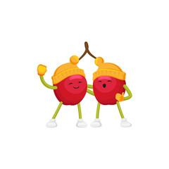 Vector cartoon winter fruit character - happy cherries in outdoor hats, boots, mittens singing songs hugging. Isolated illustration white background. New year christmas poster design element