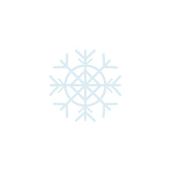 Vector flat winter, christmas new year holiday festive decoration symbol - silver snowflake icon. Isolated illustration on a white background.