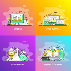 Modern smooth gradient flat line concept web banner of Video Tutorial, Achievement, Online Education and E Books. Conceptual vector illustration for web design, marketing, and graphic design.