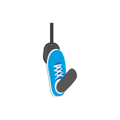 Vector flat foot in blue sneaker pressing gas, brake car, auto pedal icon. Isolated illustration on a white background. Vehicle, transportation symbol