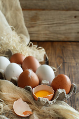 Сhicken eggs in a box