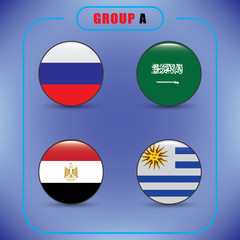 Football. Championship. Vector flags. Russia. Group A.