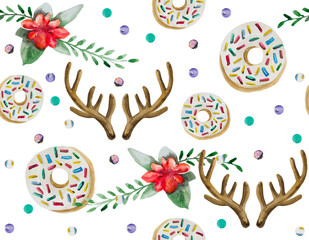 A seamless pattern is mainly made up of donuts and various festive elements and decor objects. Watercolor pattern on a white background easily tiles and creates a unique pattern.