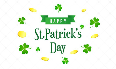 Happy St. Patrick's Day greeting card vector illustration. Typography with coins and Shamrock on white background.