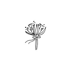 Wedding bouquet logo element