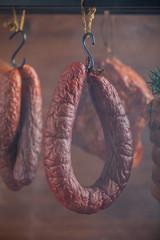 Smoked pork in a homemade smokehouse