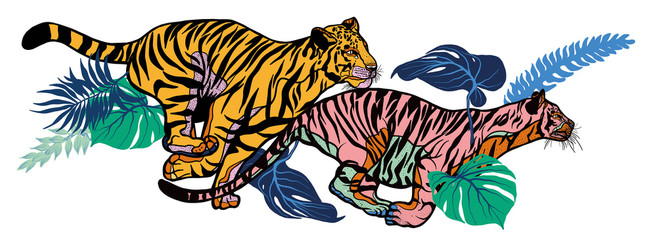 Running tigers with leaves isolated