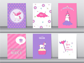 Set of cute fantasy poster,template,cards, unicorn,animals, Vector illustrations