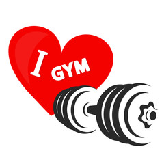 Dumbbell and heart