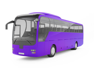 Purple big tour bus isolated on a white background. 3D rendering