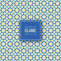 Seamless pattern in islamic traditional style. Blue, yellow and white colors. Vector illustration.