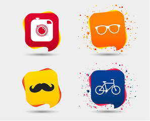 Hipster photo camera with mustache icon. Glasses symbol. Bicycle family vehicle sign. Speech bubbles or chat symbols. Colored elements. Vector