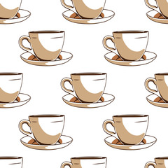 Seamless pattern with coffee cups.