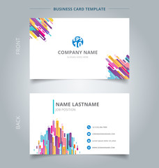 Creative business card and name card template modern style composition made of various rounded shapes colorful.