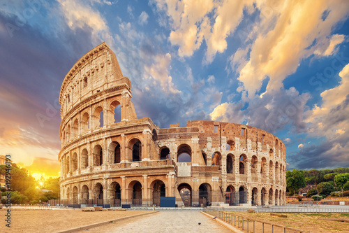 Wall mural The Coliseum or Flavian Amphitheatre (Amphitheatrum Flavium or Colosseo), Rome, Italy.